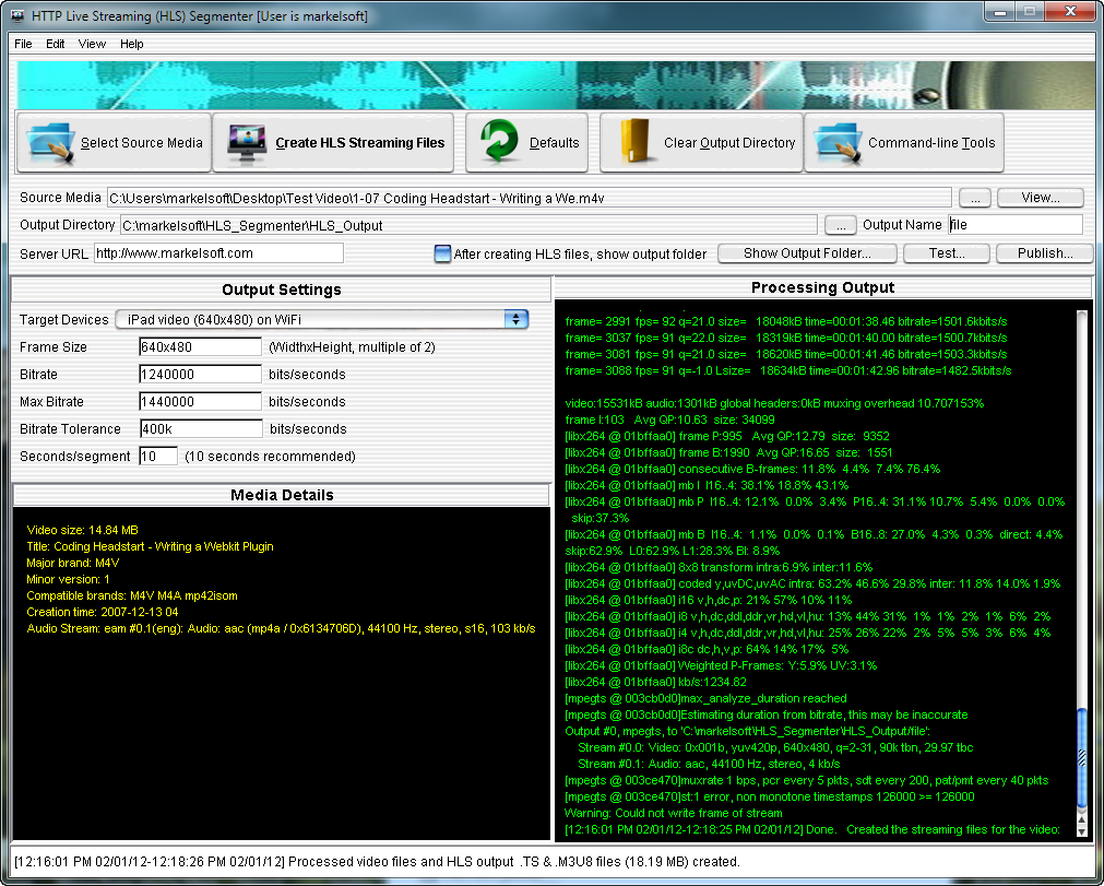 HTTP Live Streaming (HLS) Segmenter (Windows software)